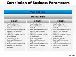 correlation of business parameters using stacked horizontal vertical boxes powerpoint templates 0712