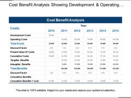 Cost Benefit Analysis Showing Development And Operating Costs