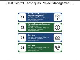 Cost Control Techniques Project Management Human Resources Personnel Management Cpb