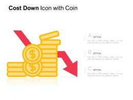Cost Down Icon With Coin