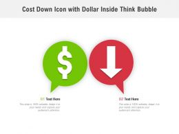 Cost Down Icon With Dollar Inside Think Bubble