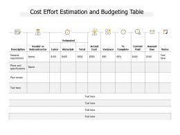 Cost Effort Estimation And Budgeting Table
