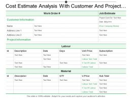Cost Estimate Analysis With Customer And Project Information