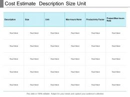 Cost Estimate Description Size Unit