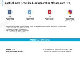 Cost Estimate For Online Lead Generation Management Marketing Ppt Powerpoint