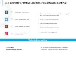 Cost Estimate For Online Lead Generation Management Service Ppt Powerpoint Files