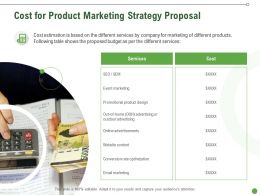 Cost For Product Marketing Strategy Proposal Ppt Powerpoint Presentation Slides Samples