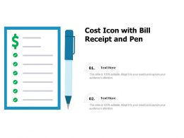 Cost Icon With Bill Receipt And Pen