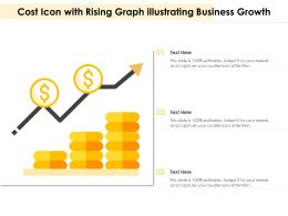 Cost Icon With Rising Graph Illustrating Business Growth