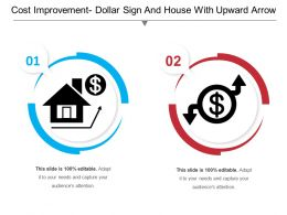 Cost Improvement Dollar Sign And House With Upward Arrow