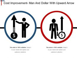 Cost Improvement Man And Dollar With Upward Arrow