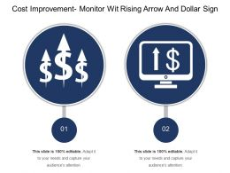 Cost Improvement Monitor With Rising Arrow And Dollar Sign