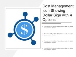 Cost Management Icon Showing Dollar Sign With 4 Options