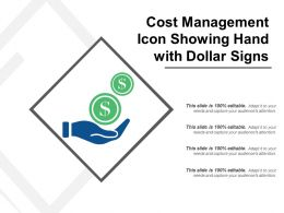 Cost Management Icon Showing Hand With Dollar Signs