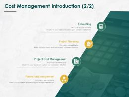 Cost Management Introduction Planning Ppt Powerpoint Presentation