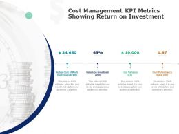Cost Management KPI Metrics Showing Return On Investment Ppt Powerpoint Presentation Ideas
