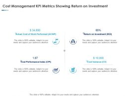 Cost Management KPI Metrics Showing Return On Investment Ppt Professional