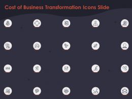 Cost Of Business Transformation Icons Slide Ppt Powerpoint Presentation Outline Template