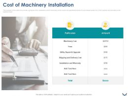Cost Of Machinery Installation Ppt Powerpoint Presentation Slides Layout Ideas