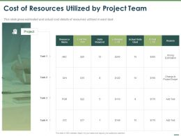 Cost Of Resources Utilized By Project Team Ppt Powerpoint Presentation Pictures