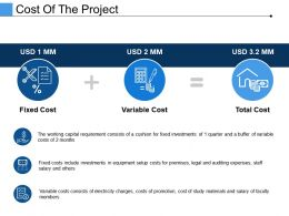 Cost Of The Project Presentation Powerpoint