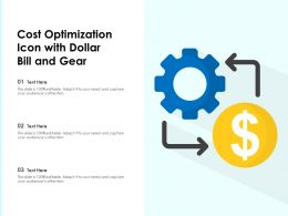 Cost Optimization Icon With Dollar Bill And Gear
