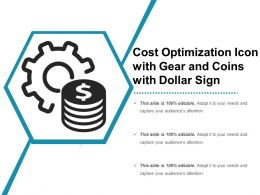 Cost Optimization Icon With Gear And Coins With Dollar Sign