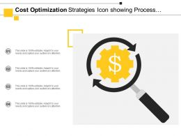 Cost Optimization Strategies Icon Showing Process For Identification And Evaluation