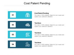 Cost Patent Pending Ppt Powerpoint Presentation Show Example Cpb