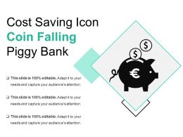 Cost Saving Icon Coin Falling Piggy Bank