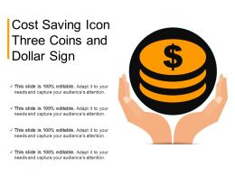 Cost Saving Icon Three Coins And Dollar Sign