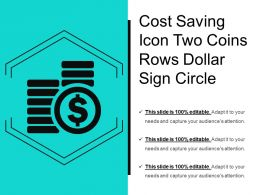 Cost Saving Icon Two Coins Rows Dollar Sign Circle