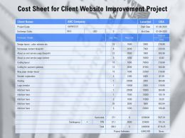 Cost Sheet For Client Website Improvement Project