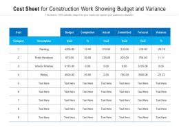 Cost Sheet For Construction Work Showing Budget And Variance