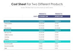 Cost Sheet For Two Different Products