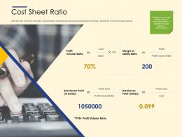 Cost Sheet Ratio Ppt Powerpoint Presentation Slides Templates