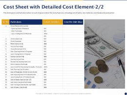 Cost Sheet With Detailed Cost Element Development Expenses Ppt Powerpoint Presentation