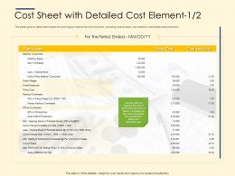 Cost Sheet With Detailed Cost Element Ppt Layouts Design Templates