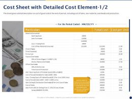 Cost Sheet With Detailed Cost Element Ppt Powerpoint Presentation Pictures