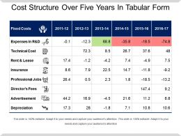 Cost Structure Over Five Years In Tabular Form