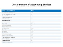 Cost Summary Of Accounting Services