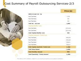 Cost Summary Of Payroll Outsourcing Services Technology Ppt Powerpoint Presentation Outline Maker