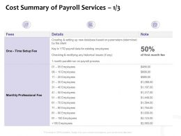 Cost Summary Of Payroll Services Fee Ppt Powerpoint Presentation Icon