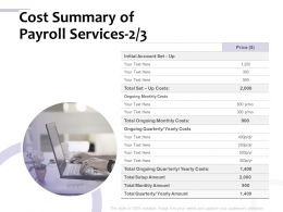 Cost Summary Of Payroll Services Initial Ppt Powerpoint Presentation Slides