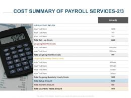 Cost Summary Of Payroll Services Management Ppt Powerpoint Presentation Portfolio