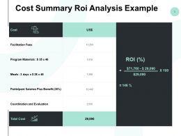 Cost Summary Roi Analysis Example Ppt Powerpoint Presentation Summary Graphics Design