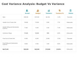 Cost Variance Analysis Budget Vs Variance Marketing Ppt Powerpoint Presentation Professional Format