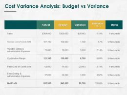 Cost Variance Analysis Budget Vs Variance Ppt Powerpoint Presentation