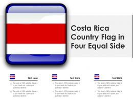 Costa Rica Country Flag In Four Equal Side