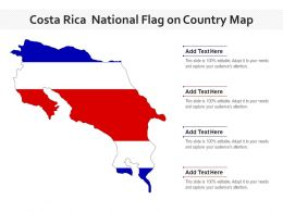 Costa Rica National Flag On Country Map